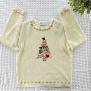 Alfred Dunner Christmas Tree Novelty Pretty Ugly Christmas Sweater